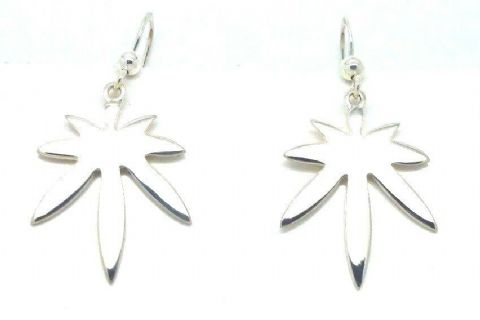 Sterling Silver 925 Cannabis / Marijuana Leaf Drop Earrings